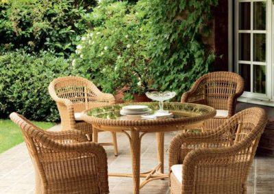 Klasikiniai pinti lauko baldai krėsliukas stalas Alga_3