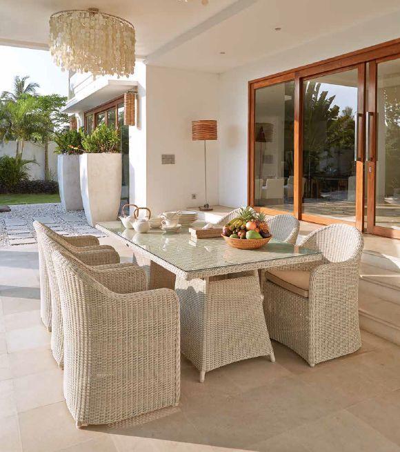 Modernios klasikos lauko baldai krėsliukas stalas Calderan 2