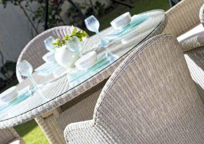 Modernios klasikos lauko baldai krėsliukas stalas Calderan 4