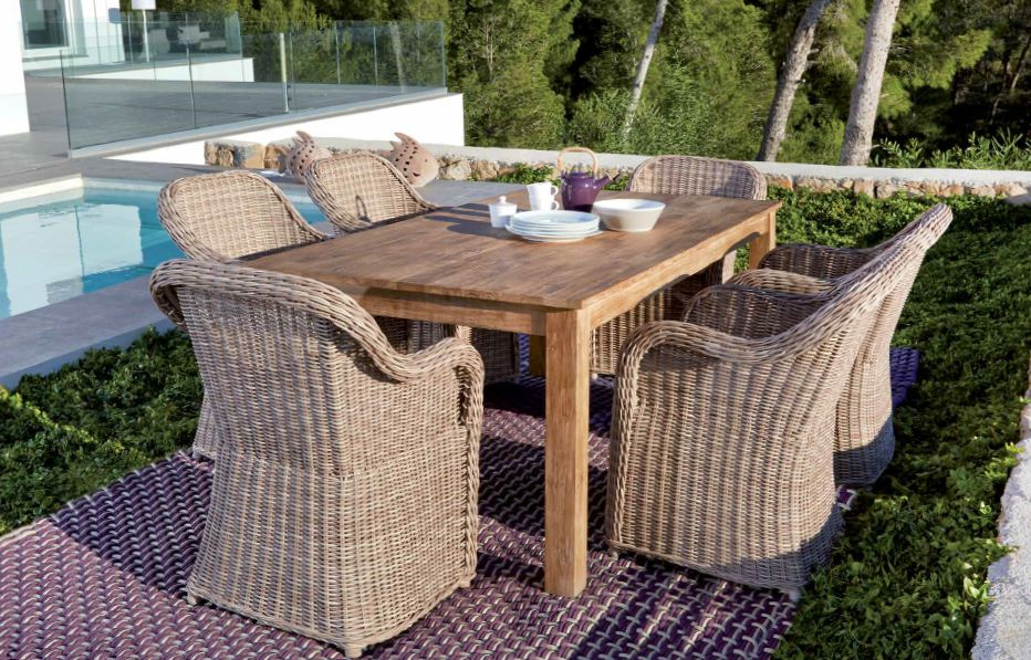 Modernios klasikos lauko baldai krėsliukas stalas Pasha