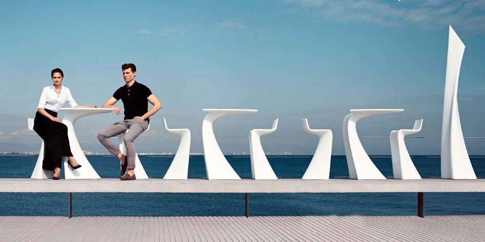Modernūs lauko baldai baro kėdė stalas wing