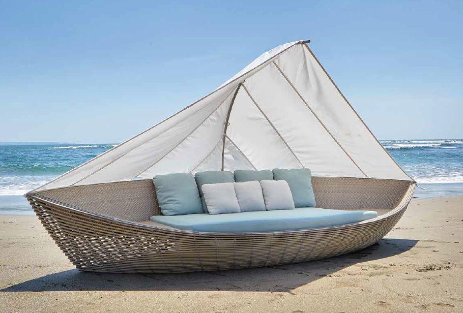 Modernūs lauko baldai gultas Boat
