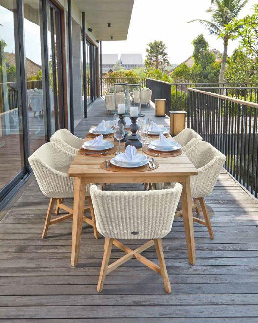Modernūs lauko baldai valgomojo stalas krėsliukai Pob 2