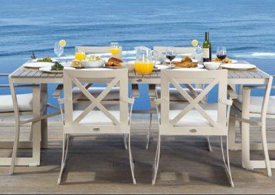 Modernūs lauko baldai valgomojo stalas krėsliukai Rhone 2