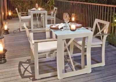 Modernūs lauko baldai valgomojo stalas krėsliukai Rhone 4