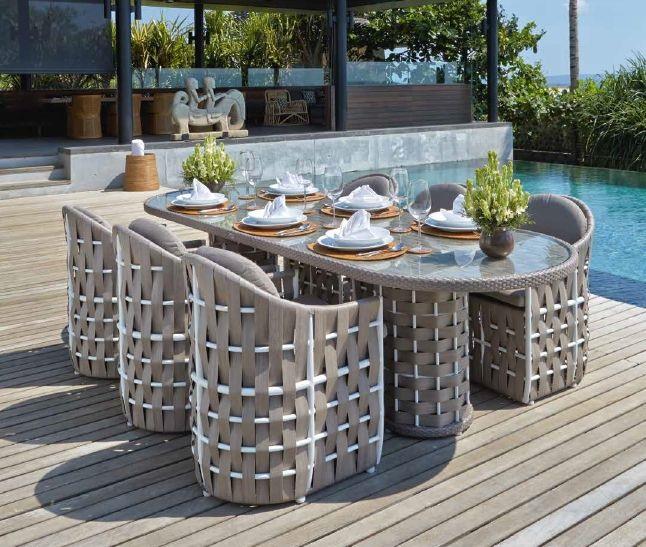 Modernūs lauko baldai valgomojo stalas krėsliukai Strips 2
