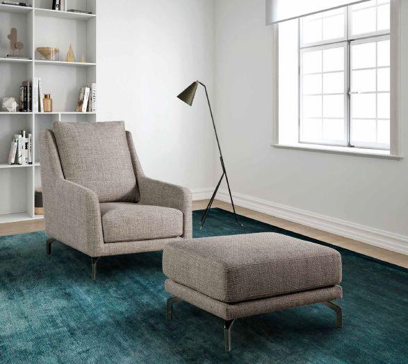 Modernūs minkšti svetainės baldai krėsliukas Riva