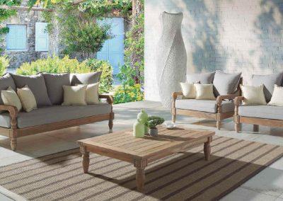 Klasikiniai lauko baldai sofa staliukas Jawy