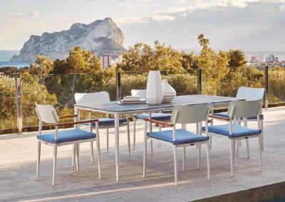 Modernūs lauko baldai stalas kėdės Domingo 2
