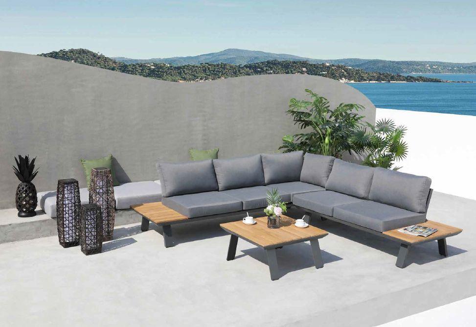 Modernūs lauko baldai kampinė sofa staliukas Lagos 2