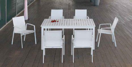 Modernūs lauko baldai valgomojo stalas kėdės Gandia 2
