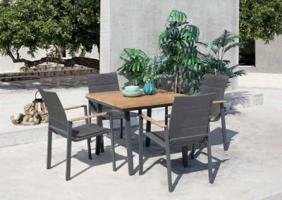 Modernūs lauko baldai valgomojo stalas kėdės Lagos 4