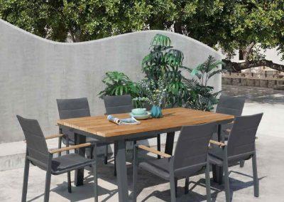 Modernūs lauko baldai valgomojo stalas kėdės Lagos 5